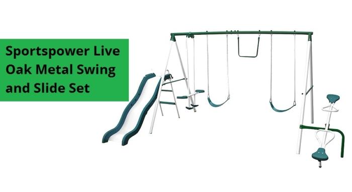 Sportspower-Live-Oak-Metal-Swing-Set-And-Slide-Set