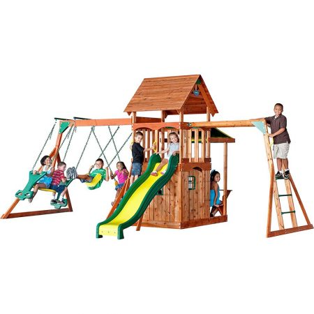 Backyard-Discovery-Saratoga-All-Cedar-Wood-Playset-Swing-Set